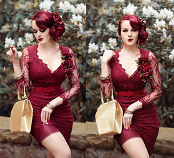 Charlotte S. - La Femme En Noir Dentelle Dress In Crimson, Tatyana To Die For Purse In Gold, What Katie Did Seamed Stockings Claret Glamour - Love is a losing Game