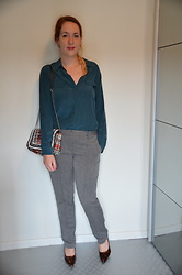 Sarah M - Gran De Malice Blouse, Zara Bag, Kiomi Pants, New Look Heels - Grey & Teal