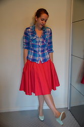 Sarah M - H&M Shirt, Mint&Berry Skirt, Hot Item Heels - Pink & Blue