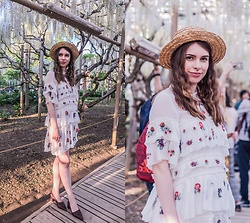 Ana B - Zara Floral Pattern Dress, Charles&Keith Shoes, Fandacsia Summer Hat - White Wisteria
