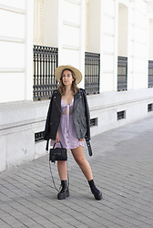 Claudia Villanueva - Asos Hat, Zara Jacket, Shein Dress, H&M Bag, Asos Boots - Lilac Polka Dot Dress