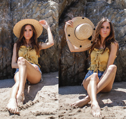 Jenny M - Forever 21 Straw Hat, Tres Vu Satin Top - ALL THE BEST BEACH ACCESSORIES / thehungarianbrunette.com