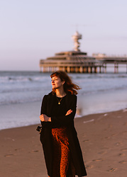 Tea M - Costes Leopard Print Skirt, Mango Black Top, Bershka Black Wolly Coat - Scheveningen