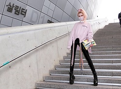 Emmalynn V - Jeffrey Campbell Shoes Boots, American Apparel Disco Pants, Ambush String Sweatshirt, Dolls Kill Reflective Choker - Seoul Fashion Week