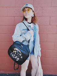 Samantha Elise - Adidas Baseball Hat, H&M Sunnies, Primark Jean Jacket, Shein High Waist Shorts, Forever 21 Trouble Crop Top, Ita Bag - I call this look Whole Foods on Sunday