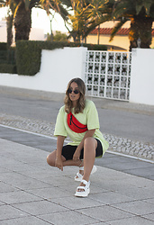 Claudia Villanueva - Zara T Shirt, Bershka Fannypack, Pull & Bear Shorts, Yellow Shop Sandals - How I wear velcro sandals