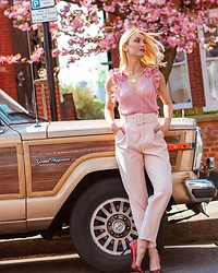 Miss Casual - Zara Ruffle Top, Zara Belted Trousers - Pink is my spring obsession