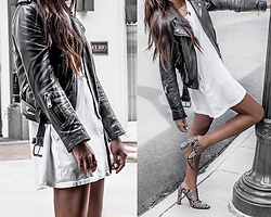 Kristina - All Saints Leather Biker Jacket, Jo Mercer Snakeprint Mules - Oversized tee and leather