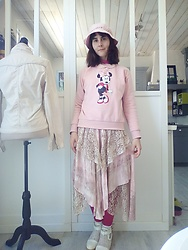 Lulu Longstocking - Pink Vintage Hat, Disney Thrifted Sweater, Thrifted Vintage Skirt, Lace Shoes - Old rose