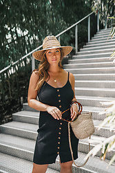 Alexandra G. - Forever 21 Ribbed Midi Dress, Aritzia Rattan Bag - The Essential Summer Dress