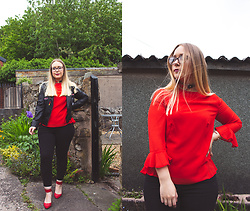 Emma Reay - Everything 5 Pounds Red Frill Sleeve Blouse - WAYS TO WEAR BLACK JEANS PT.1