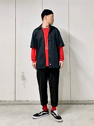 ★masaki★ - Dickies Shirts, Ch. Trousers, Vans Sneakers, Gucci Necklace - Black & Red
