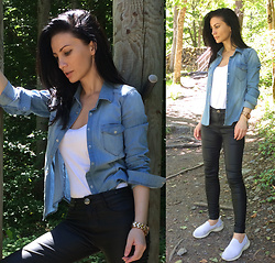 LOOK DU JOUR BY ANA - Plt Denim Shirt, H&M Denim Shirt, Only Denim Shirt, Asos Strap Cami Top, H&M Leather Jeans, Na Kd Leather Jeans, I Saw It First Leather Jeans, Boohoo Leather Jeans, Skechers Flex, Skechers Womens Gowalk Joy Trainers, Skechers Skech Air Element Prelude Trainers - WALK IN THE WOODS