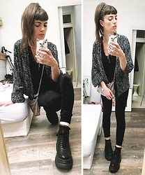 ♡Nelly Kitty♡ - Zara Black And White Kimono, H&M Black Velvet Leggings, Gemo Black Faux Leather Platform Sneakers, Primark Black Lace Socks - OOTD#69
