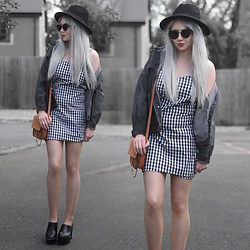 Sammi Jackson - Primark Black Fedora, Zaful Sunglasses, Grey Denim Jacket, Ever Pretty Gingham Dress, Zaful Faux Suede Satchel Bag, Romwe Chunky Boots - GINGHAM DRESS