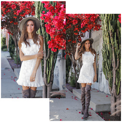 Jenny M - Amazon White Lace Dress, Aldo Over The Knee Boots, Urban Outfitters Felt Hat - MY NEW FAVE $14 DRESS!!! // thehungarianbrunette.com