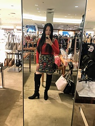 K L - Francesca's Becky Embroidery Skirt, Shein Thigh High Boots, Shein Red Knit Long Sleeve Top - Embroidery chic
