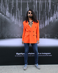 Owais Haji - Asos Orange Oversized Blazer, Levi's® Jeans - Orange Fetish