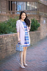 Kimberly Kong - Stitchfix Striped Dress, Kadell Pastel Handbag - Feeling Girly in My New Striped Dress from Stitchfix