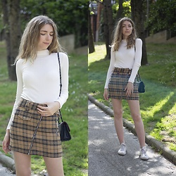 Alba Granda - Bershka White Jumper, Bershka Plaid Mini Skirt, Zaful Black Bag, Converse White - Plaid Skirt