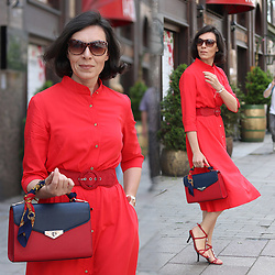 Minimalissmo .. - More'moi Red Midi Dress (Shirt Dress) - RED