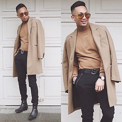 Paul Zedrich - Quay Australia X Desi High Keys, H&M Beige Peacoat, Zara Turtle Neck Sweater, Zara Super Skinny Pants, Gucci Signature Belt, Zara Leather Boots - An inescapable sea of beige 🌊