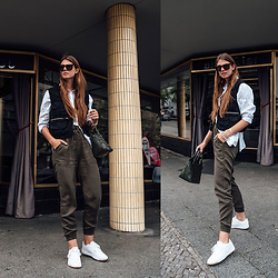 Jacky - Topshop Vest, Minimum Shirt, Chiquelle Pants, Reebok Sneakers, Cala Jade Bag - How to wear a utility vest