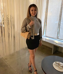 Petite Decadent - St John Addison Knit, Missguided Turtleneck Bodysuit, Lip Service Floral Embossed Knit Skirt, Rienda Strap Heels, Chanel Boy Bag - Sushi Night