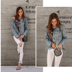 Jenny M - H&M Denim Jacket, Zara Raw Hem Jeans - 3 WAYS TO WEAR A DENIM JACKET #1 // thehungarianbrunette.com