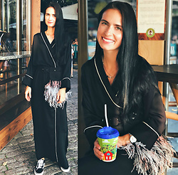 Maria Perchekliy - Balcony Garment Robe Dress, Putivtseva Atelier Fur Pocket, Vans Sneakers - Robe dress