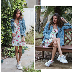 Jenny M - H&M Denim Jacket, Forever 21 Floral Mini Dress, Fila Disruptor 2 Sneakers - 3 WAYS TO WEAR A DENIM JACKET - #3 // @thehungarianbrunette