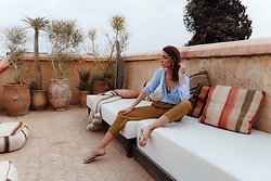 Malia Keana - Zara Blouse, Zara Pants, Mango Belt Bag - Marrakech days