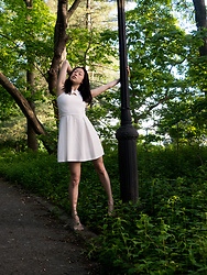 Gi Shieh - Goodwill Thrifted White Dress - Thrifted White Dress - Intro to Sustainable Fashion