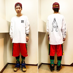 @KiD - Dam Funk Cap, Esow Long Sleeve Tee, Adidas Rasta Jersey Shorts, Camper Bernhard Willhelm - JapaneseTrash508