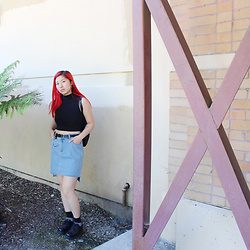 Dana Nguyen - Urban Outfitters Crop Top, Yesstyle Belt, Cheap Monday Skirt, Enzo Angiolini Platforms - Grim