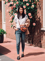 Vivian Tse - Arket T Shirt, Zara Jacket, Demellier Bag, Zara Jeans, Gucci Loafers, Missoma Necklace, Cinco Necklace - Not so basic