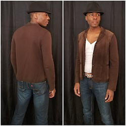 Thomas G - Faded Glory Fedora, Jones New York Collection Suede Jacket, Levi's 511 Skinny, Old Navy 3 Button V Neck 3/4 Sleeve Top - Indiana Jones - Vibe