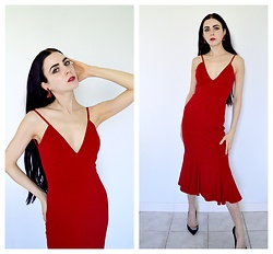 Caitlin - Costume Earrings, Daya By Zendaya Embellished Suede Pointy Toe Stilettos, Jovani Backless Jersey Gown - Red Backless Dress