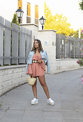 Claudia Villanueva - Zara Jacket, Nihao Jewelry Playsuit, Local Store Bag, Superga Sneakers - Straw Accessories