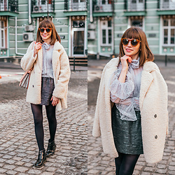 Christina & Karina Vartanovy - Chic Wish Out With A Sherpa Coat In Ivory, Chic Wish Duly Dreamy Bowknot Dotted Mesh Top In Grey, Zara Black Jacquard Mini Skirt, Asos Shoulder Bag With Wide Snake Detail, Asos Truffle Collection Front Zip Up Ankle Boots - Christina // busy earnin'