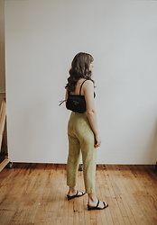 Tonya S. - Vintage Pair Pants, & Other Stories Heeled Strappy Sandals, Farfetch Prada Waist Bag - PEAR PANTS!!
