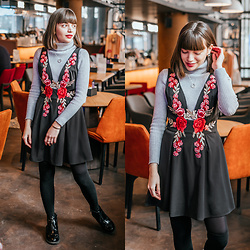 Christina & Karina Vartanovy - Newchic Casual High Neck Knitted Sweater In Grey, Gamiss Black V Neck Floral Applique Dress, Asos Truffle Collection Front Zip Up Ankle Boots - Christina // I'll be there