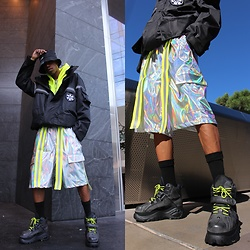 Dominic Grizzelle - Vibrate Shorts, Buffalo London Platform Sneakers, Zinq And Yoni Cargo Jacket - Space Trap