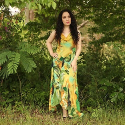 Libertad Green - Yellow And Green Print Dress - Yellow and Green Print Dress
