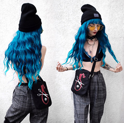 Kimi Peri - Sarah Thursday Akai Shoulder Bag, Disturbia Ring Choker, Plaid Pants, Perfezione Blue Velvet Bra, The Anti Life Beanie, Donalovehair Blue Hair, Solrayz Necklaces, Vii & Co. Yellow Glasses - Blue Velvet
