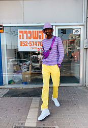 Jon The Gold - Nike White Air Force 1 Sneakers, Kappa Yellow Joggerpants, Adidas Purple Bumbag, Kangol Purple Buckethat - Purple Drip