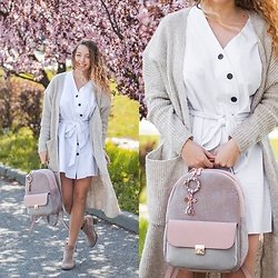 Gabriela Grębska - Shein White Dress, Pafrois Backpack, Bershka Boots, Diverse Cardi - White dress