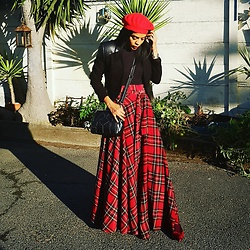 Meagan Duckitt - Calista Clothing Tartan Skirt, David Tlale Cropped Blazer, Mrp Snakesin Flats - RED
