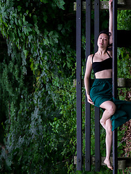 Gi Shieh - Forever 21 Strappy Black Crop, Forever 21 Emerald Green Slit Skirt - Topsy Turvy Image Rotation!