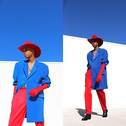 Dominic Grizzelle - Thrift Red Cowboy Hat, Thrift Pin Stripe Blue Blazer, Notrainproof Red Trousers - GRIZ FOR PREZ